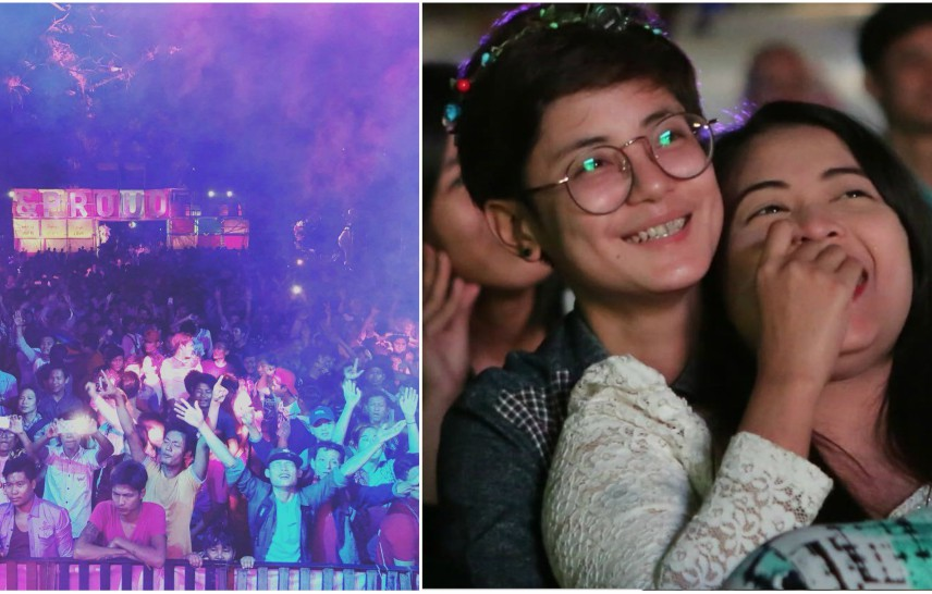 Two photos one of a crowd enjoying a performance and a lesbian couple embracing and watching a film