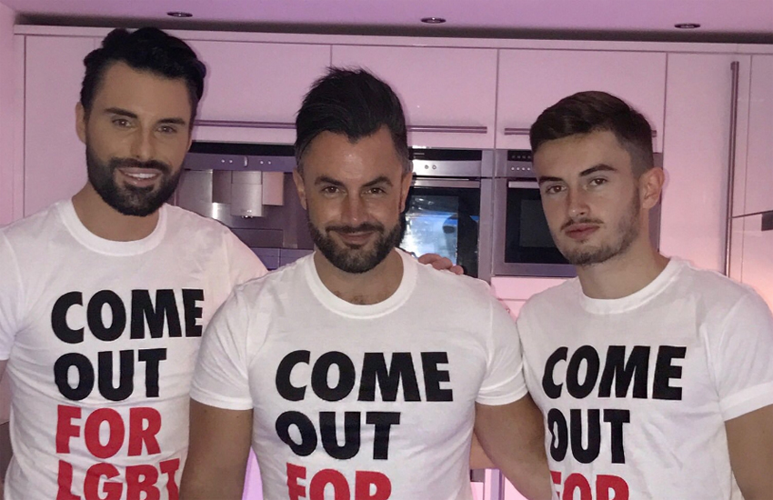 Rylan, Dan and Cameron all wearing 'Come out for LGBT' t-shirts