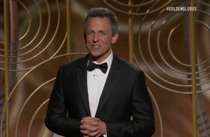 Seth Meyers in tuxedo at Golden Globes