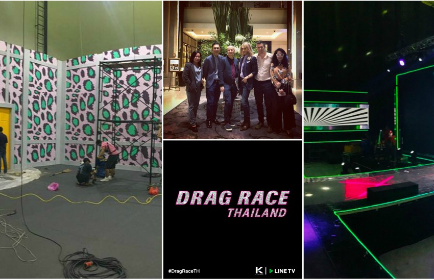Multiple photos: Colourful set from Drag Race Thailand, group photo of American and Thai producers of Drag Race