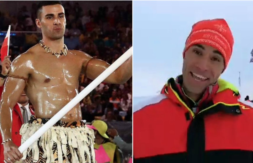 Left image, Pita Taufatofua as the topless flagbearer for Tonga. Right Image, Pita Taufatofua standing in the snow smiling at the camera