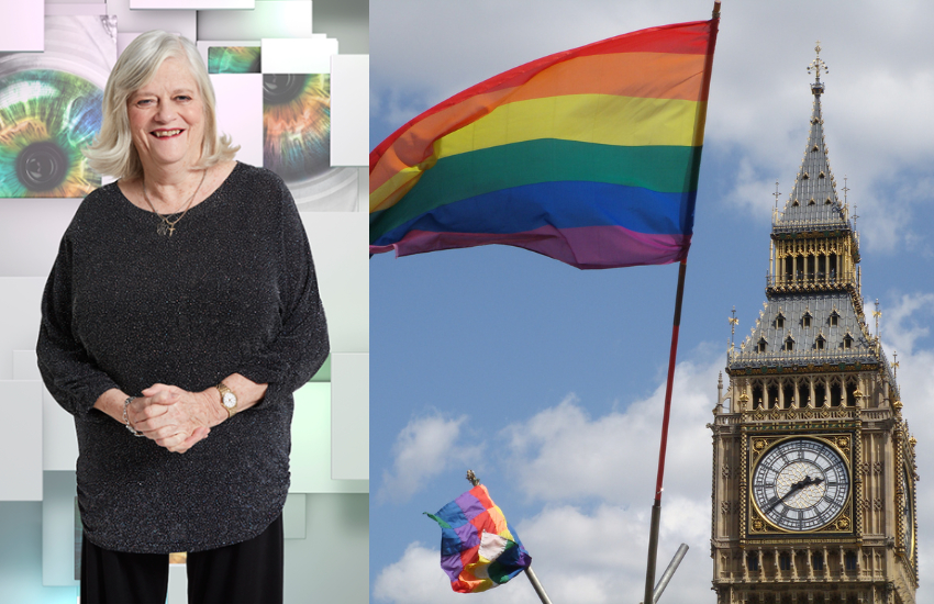 Ann Widdecombe from Celebrity Big Brother and Big Ben with a rainbow flag