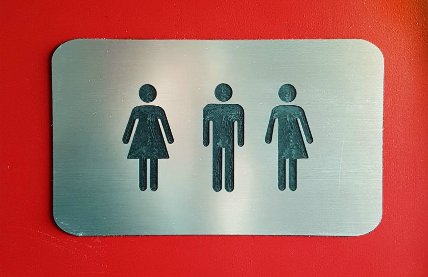 Bathroom sign support