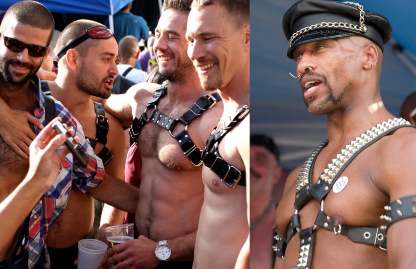Four guys together in kink leather straps and one guy in a hat with leather chest strap