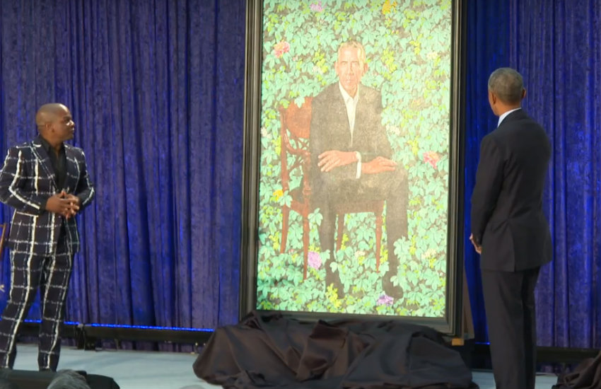 Obama and Kehinde Wiley unveiling the portrait.