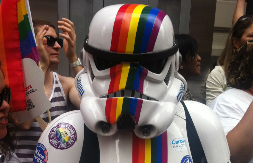 Rainbow storm trooper from Star Wars at NYC Pride 2011