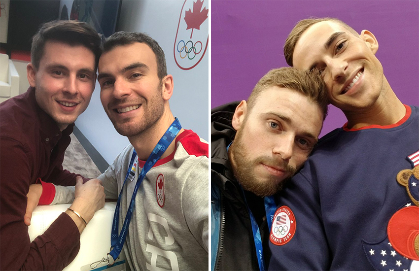 Eric Radford (left) with fiance Louis Fenero, and Gus Kenworthy with Adam Rippon