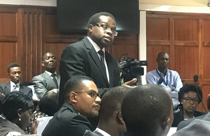 Lawyer Charles Kanjama of the Kenya Christian Professional Forum takes part in today's court hearing