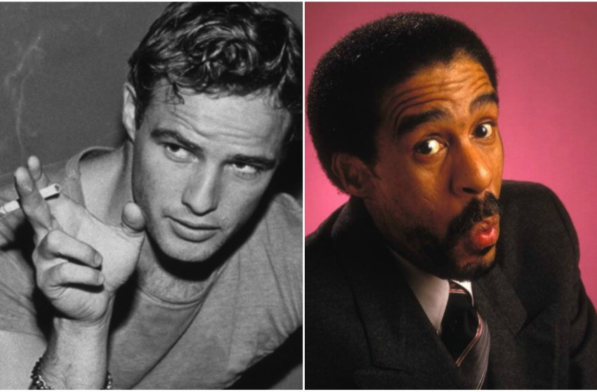 Black and white photo of Marlon Brando holding a cigarette and pointing then a colour phoro of richard pryor pulling a funny face at the camera