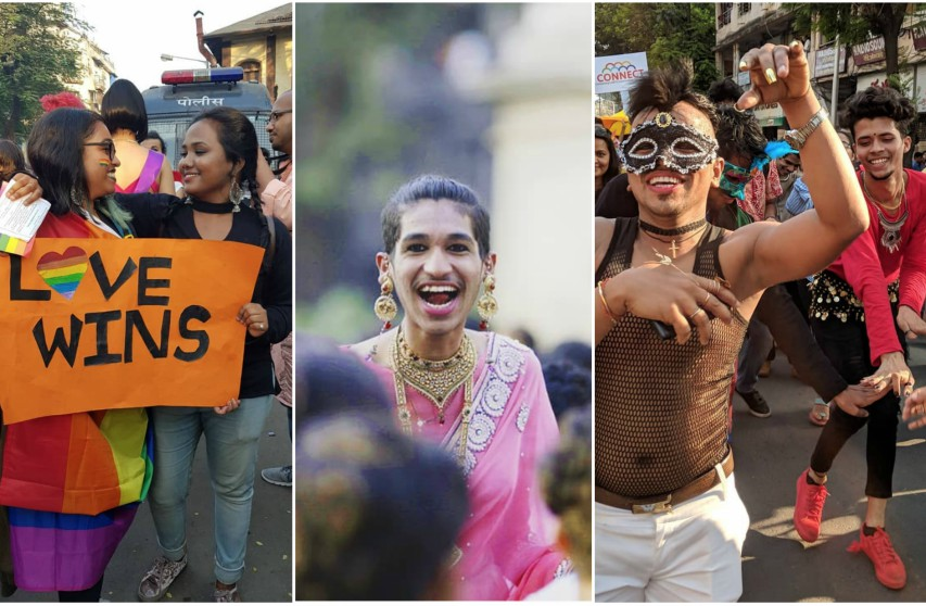 Three photos, a lesbian cople holding sign saying 'love wins', and woman in pink sari smiling and standing above the crowd and two men dancing in the street