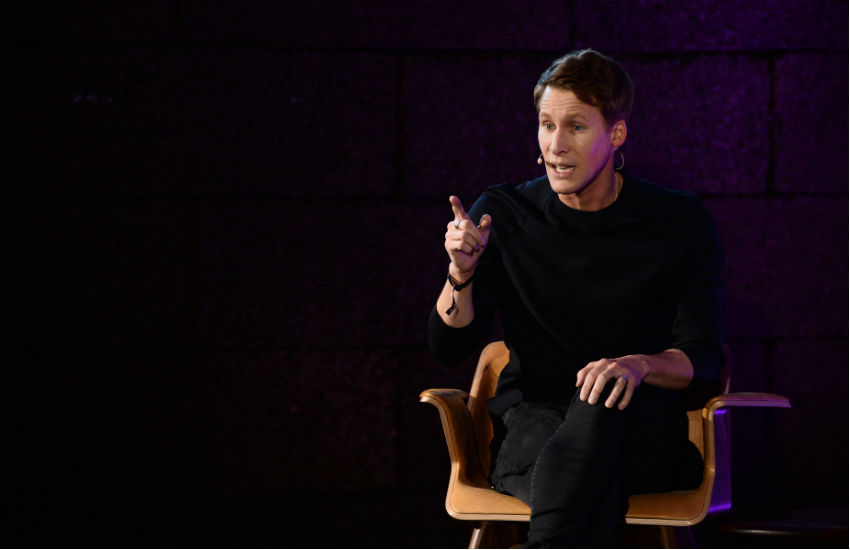 Dustin Lance Black on the Forum Stage during the opening day of Web Summit 2017 at Altice Arena in Lisbon.