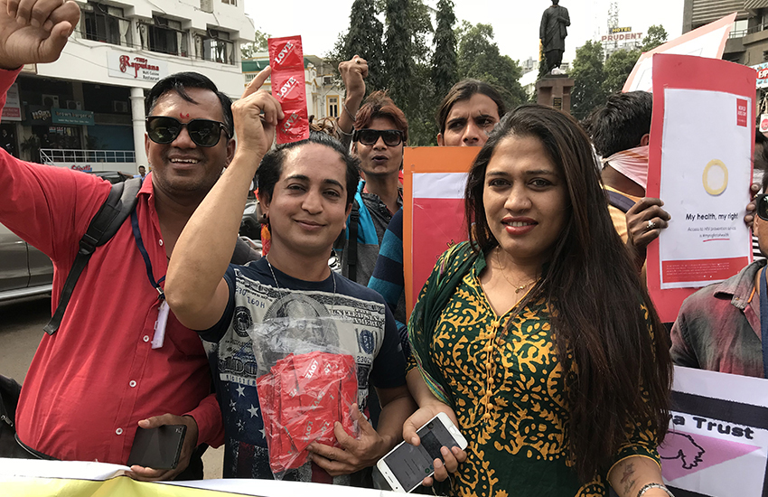 LGBTIs marching in India to promote HIV awareness.