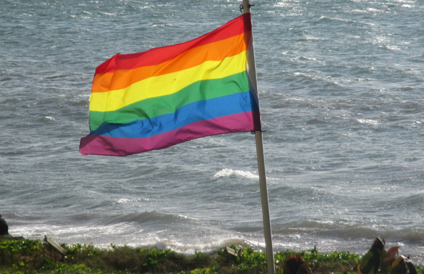 A LGBTI rainbow flag in Maui, Hawaii.