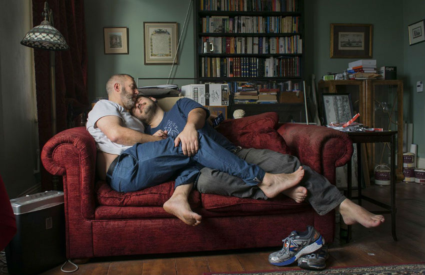 Gay couple Scott Hamilton and his partner won the Love in London photo competition with 'Snuggle'