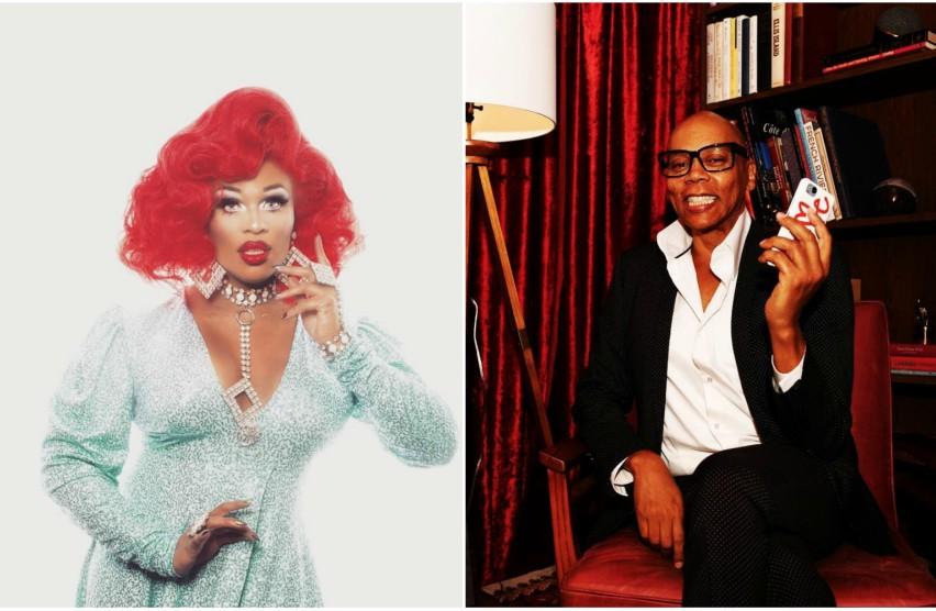 Peppermint in a blue shiny dress and red wig against a white background and RuPaul Charles sitting in a parlour on a red chair
