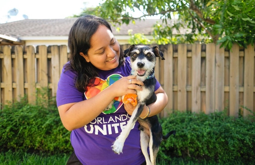 Pulse survivor Laura Vargas with her dog Walter, who also had to learn to walk again | Photo: Supplied / Laura Vargas