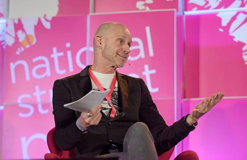 Evan Davis at a live recording of National Student Pride's podcast #QueerAF in 2018 | National Student Pride