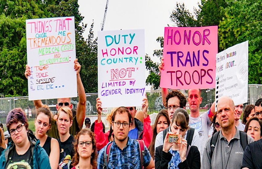 Protest against transgender military ban
