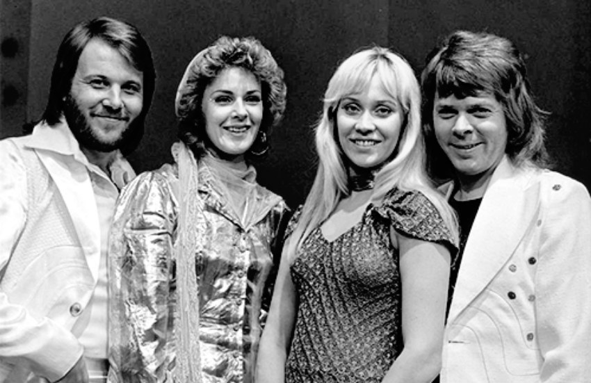 ABBA in 1974 - the year they shot to fame after winning the Eurovision Song Contest