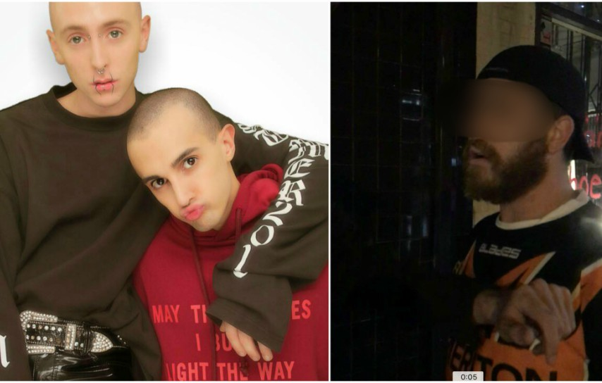 Two photos. The first is of Kurt and Adrian, they're sitting down wearing hoodies against a white wall. The other photo is a grainy shot of a man
