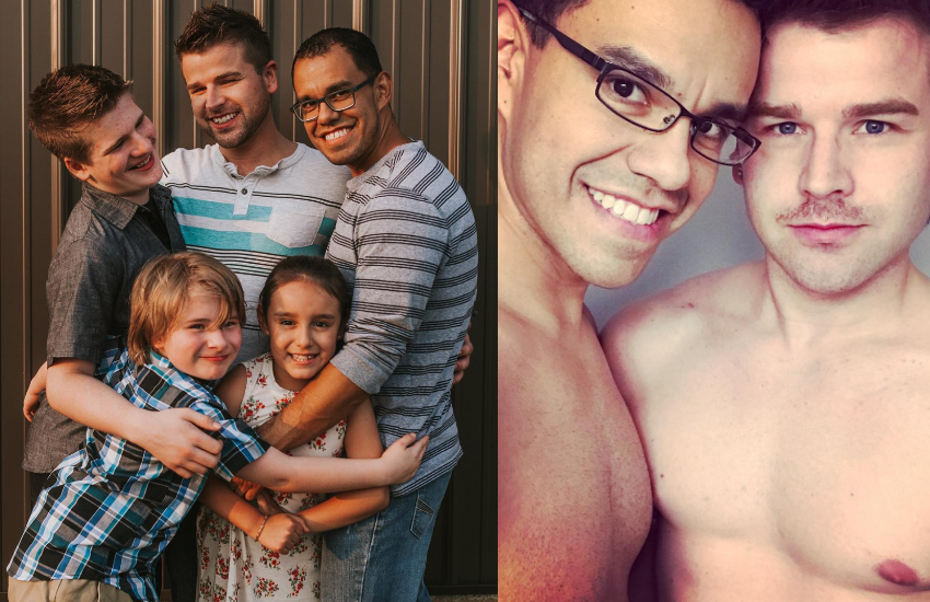 Gay dads Wayne and Gus with their family, Lucas, Logan and Eva
