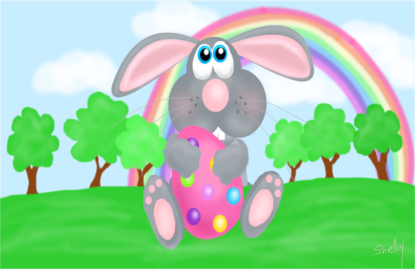 A colorful drawing of the Easter Bunny