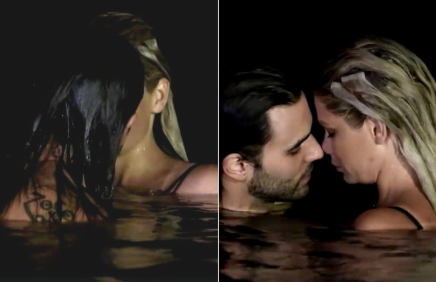 Two photos. First of blonde woman kissing someone with long brown hair whose back is facing the camera. Second it's a profile shot of the two people kissing and the brunette is revealed to be a bearded man.