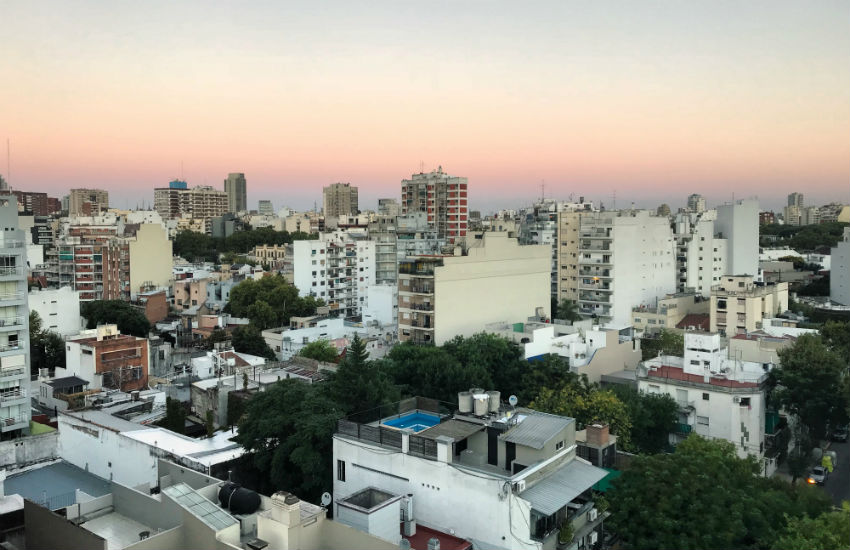 The Buenos Aires skyline at dusk, Argentina Brazil