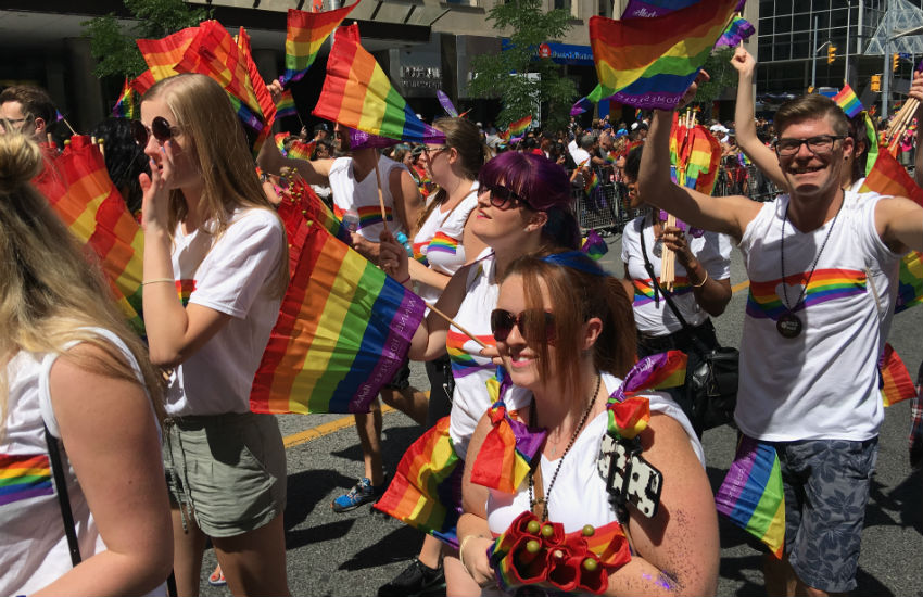 Marchers at Pride Toronto in 2016