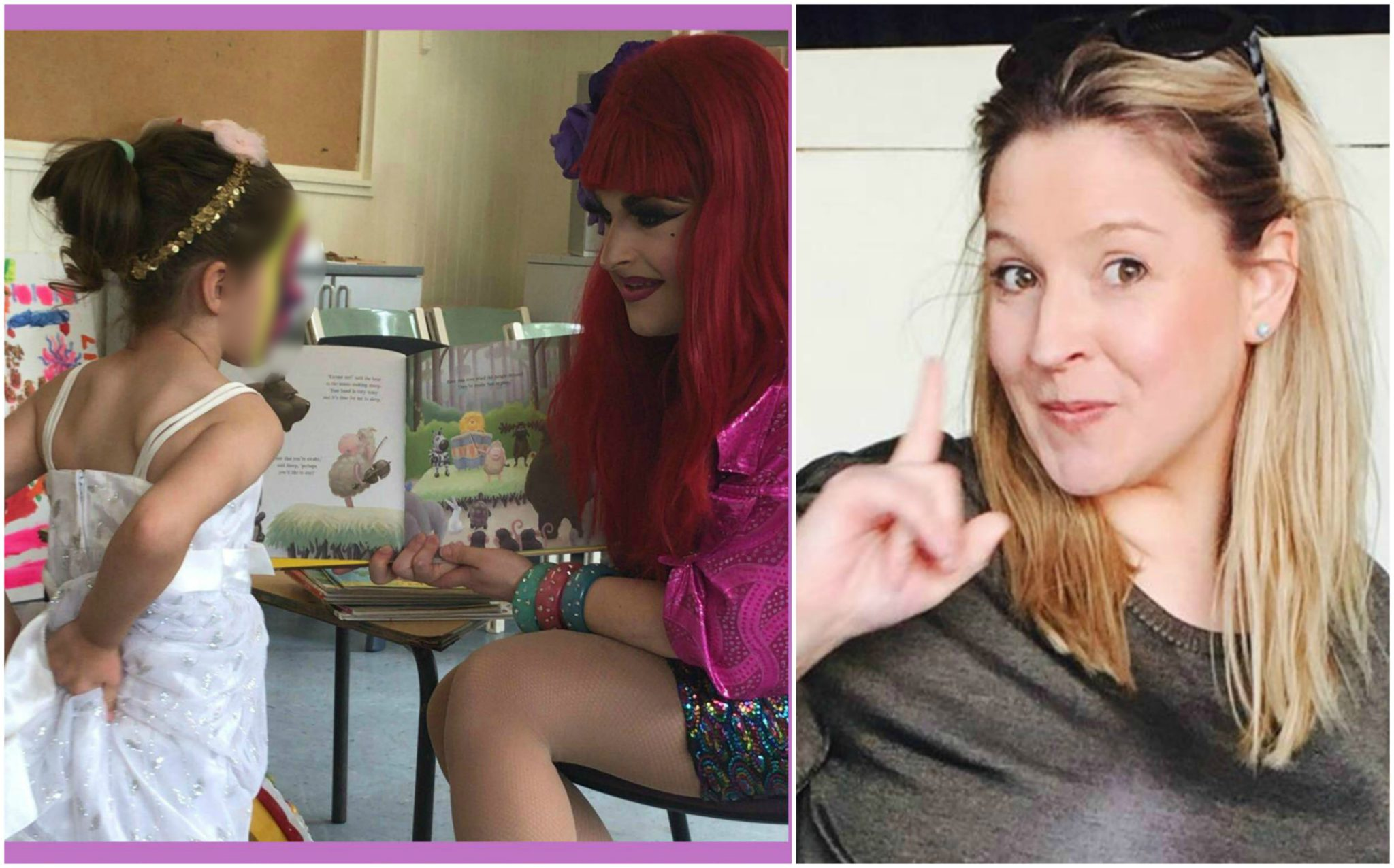Hannah Conda sitting in small chair with red wig and open children's book reading to a girl with a painted face. Right image is of political posting mumma wagging her finger