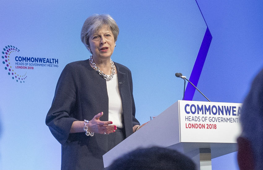 Theresa May addresses the Commonwealth Heads of Government meeting this morning