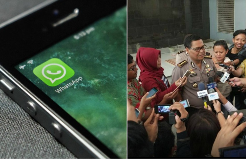 Two photos. On the left is a picture of an iphone with the whatspp logo on the screen. on the right police spokesperson in jakarta holding a media conference