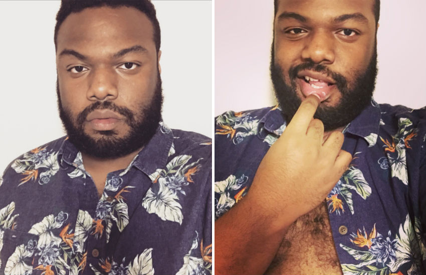 Proving larger men looking beautiful in florals... Twitter user @Dreams_on_paper