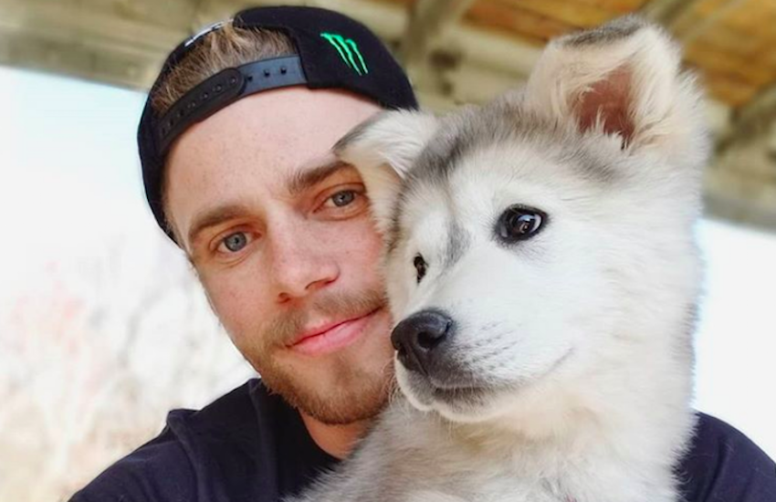 Gus Kenworthy poses with Beemo