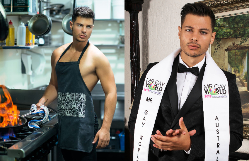 Jordan Bruno cooking in the kitchen and wearing Mr Gay World sash