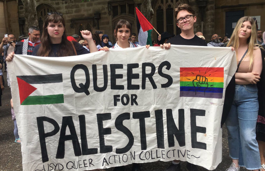 Queers for Palestine banner from the University of Sydney Queer Action Collective
