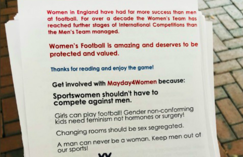 Part of the flyer handed out at the women's football match