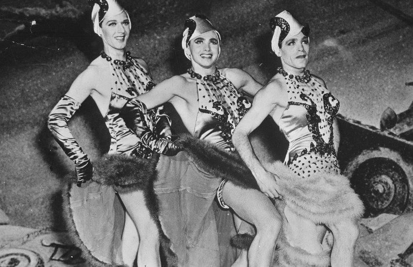 Soldiers performing in drag in World War II