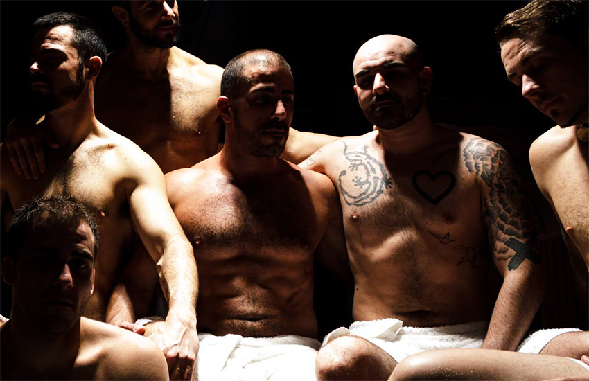 Men in a sauna to illustrate New York cumdump sex club story