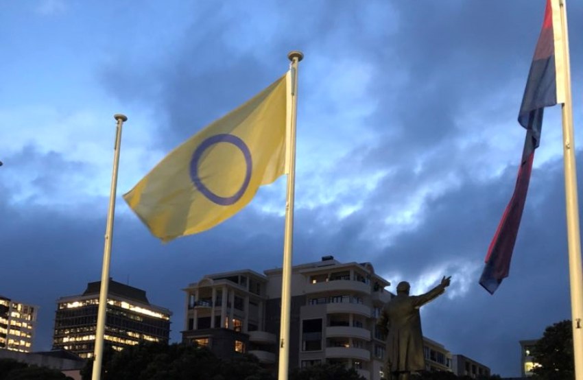 a yellow flag with a purple circle flies on a flag pole the sky is dark