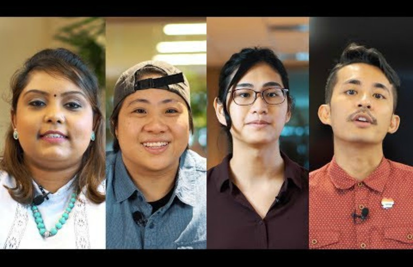 head shots of four people that are screenshot of a youtube video