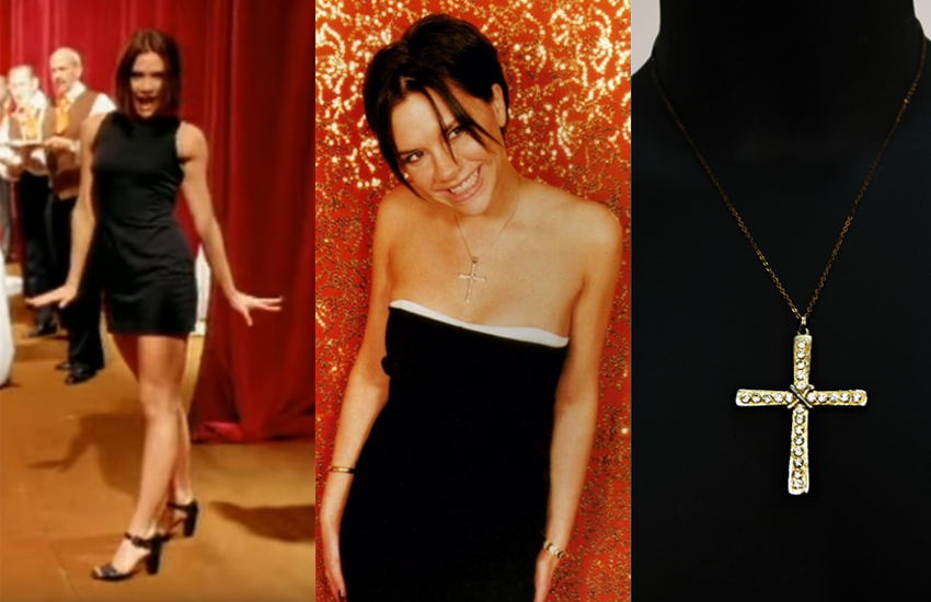 Victoria Beckham in the Wannabe video, in a photo shoot during the Spiceworld Tour, and the necklace itself