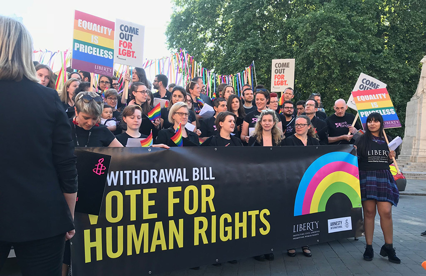 LGBTI choirs sing for our rights outside the Brexit debate.