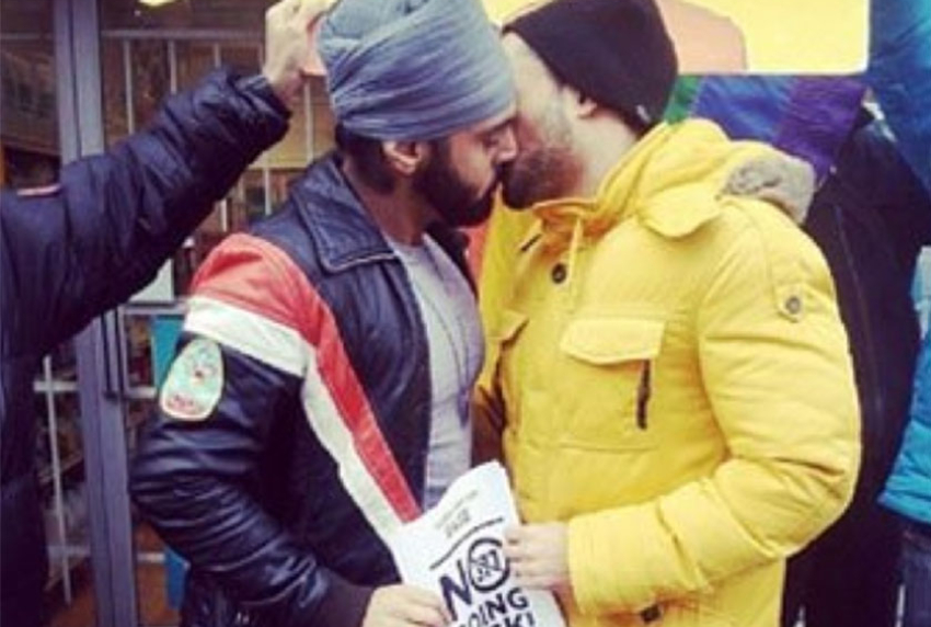 TWO MEN KISSING ONE IS WEARING A SIKHTURBAN