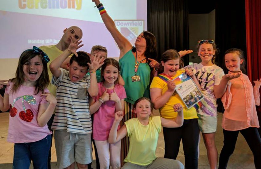 LGBT Youth Scotland present Downfield Primary School in Dundee with an award