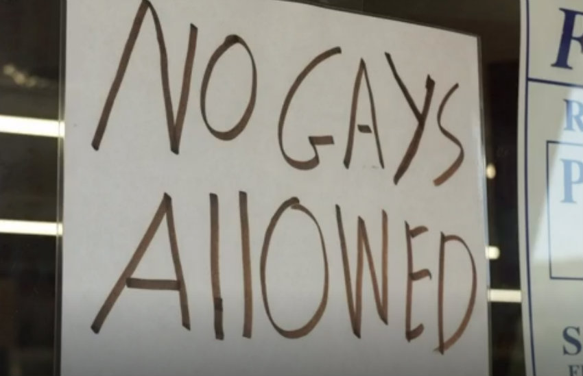No Gays Allowed sign in the Tennessee store