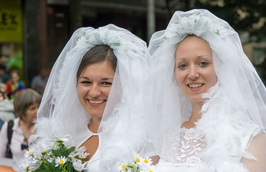 Two brides at Prague Pride in Czech Republic