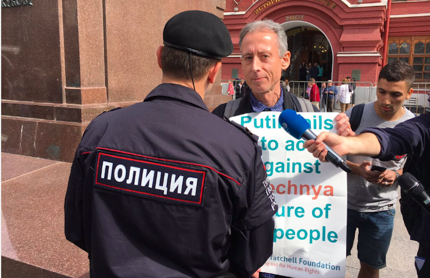 Peter Tatchell protesting in Russia at the 2018 FIFA World Cup   Photo: @PeterTatchell Twitter