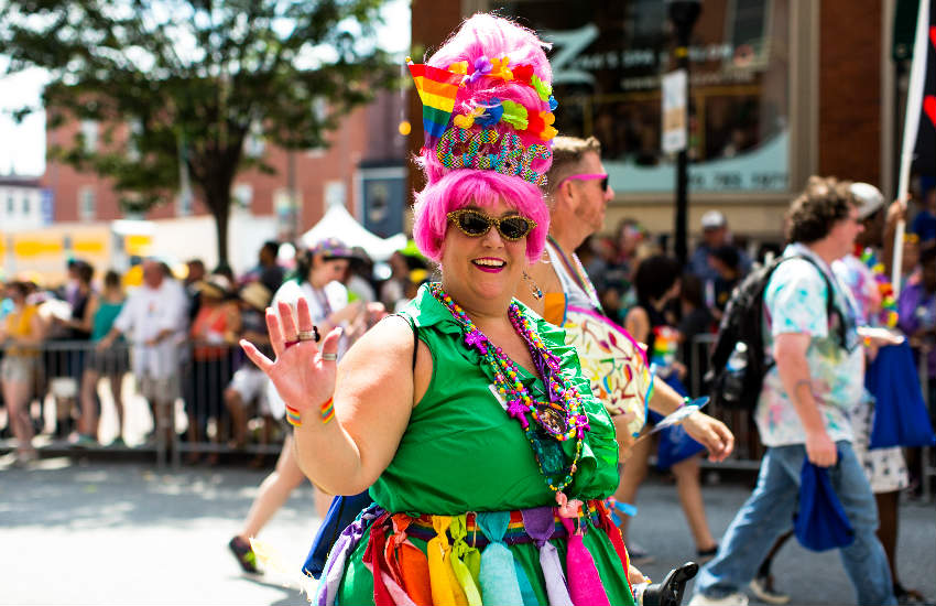 A drag queen marching at Baltimore Pride Parade 2016