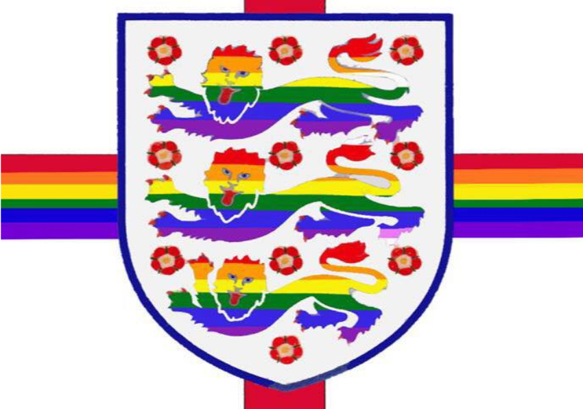 A rainbow version of the Three Lions english insignia